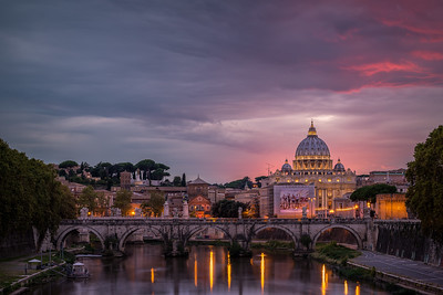 Pink Sunset Over St. Peter's Basilica