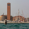 On the Grand Canal after arriving in Venice