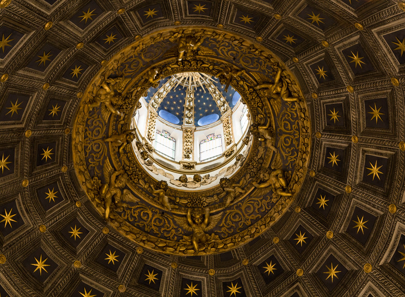 Close-up view of the cupola in the interior of the Cathedral in Siena, Italy