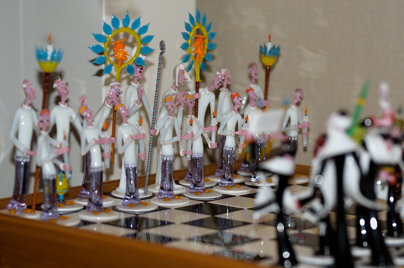 Chess Set by Gianni Toso, 1988 ~ Sculpture in Glass and Wood