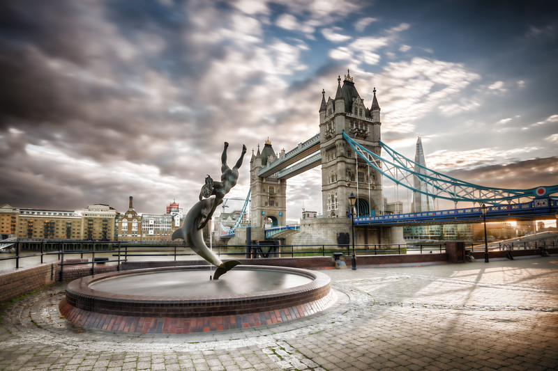 Dolphin and London Tower Bridge