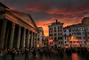 Pantheon Reflecting the Sun Setting