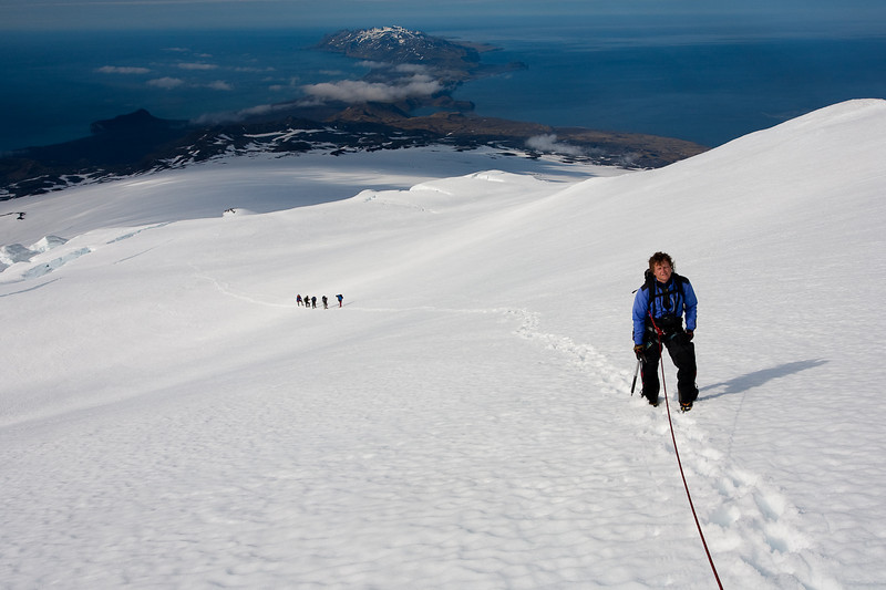 Climbers ascending the Beerenberg, Jan Mayen.