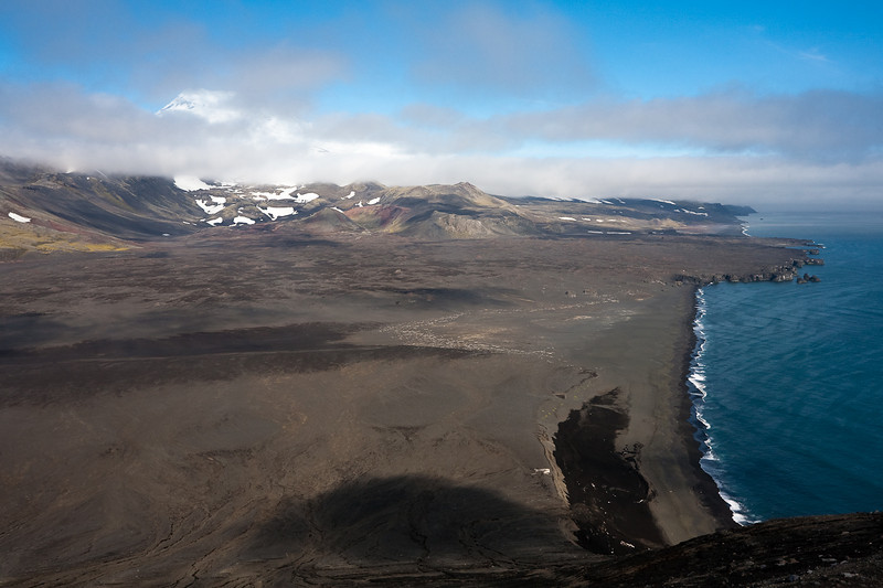 The east coast of Jan Mayen as seen from the crater of Eggoya, Jan Mayen