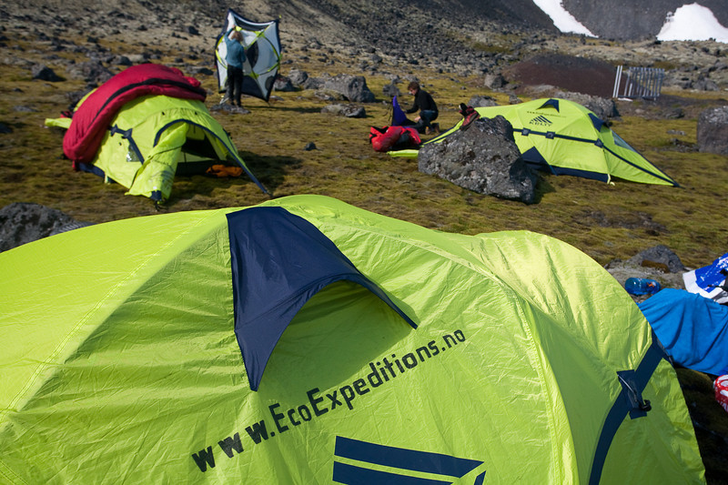 campsite on the east side of the island, Jan Mayen