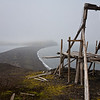 "The frame of a pulley system used to bring supplies from the shore, a remnant of ""Gamlemetten"", an old Norwegian research station, Jan Mayen"