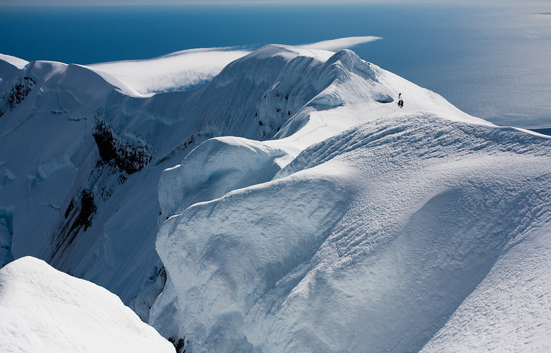 Climbing group approaching the summit of Beerenberg, Jan Mayen