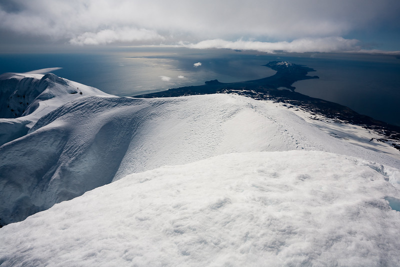 The island of Jan Mayen as seen from the summit of Beerenberg.