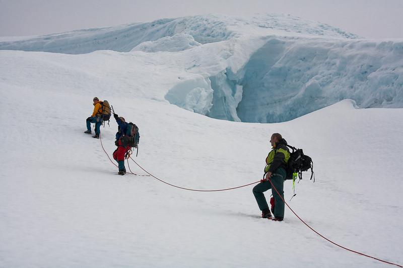 Ascending the summit ridge of Beerenberg, Jan Mayen