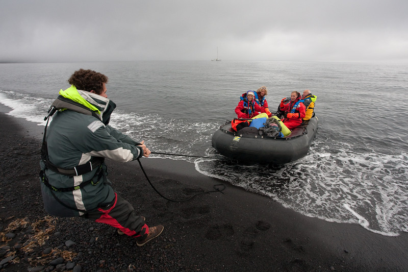 Zodiac landing on the shores of Jan Mayen.
