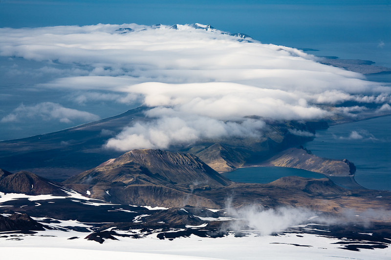 The southern half of the arctic island of Jan Mayen, seen from High Camp on Beerenberg.