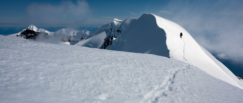 Returning from the summit of Beerenberg along the crater rim. Jan Mayen
