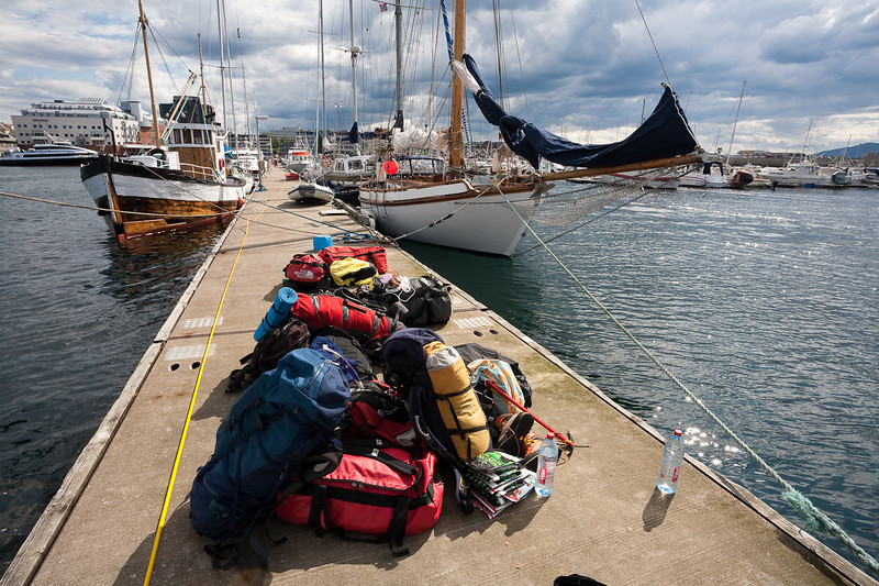 """End Station"" Expedition equipment piled on the docks in Bodo, Norway"