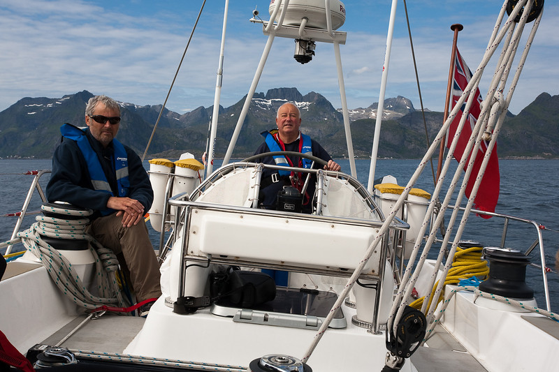 Mike at the helm as we sail from the Lofoten Islands towards mainland Norway.