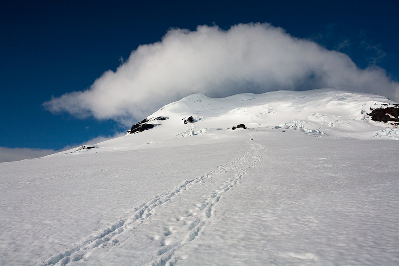 A view back to the summit of Beerenberg on the descent. Jan Mayen