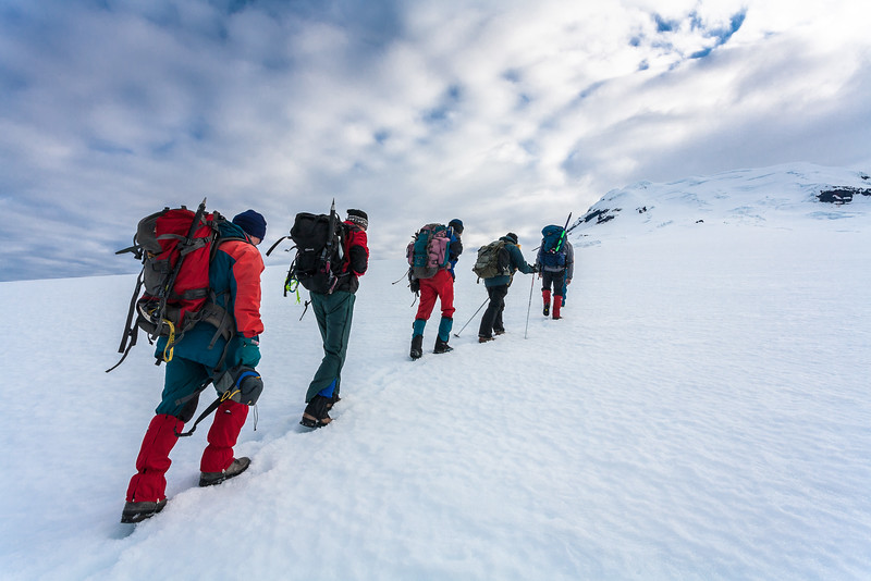 Climbers ascending the Beerenberg, Jan Mayen
