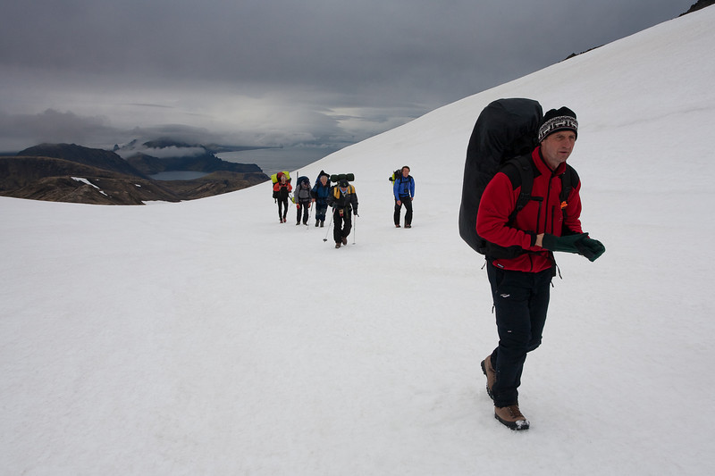Hiking from Base Camp to High Camp on the Beerenberg, Jan Mayen