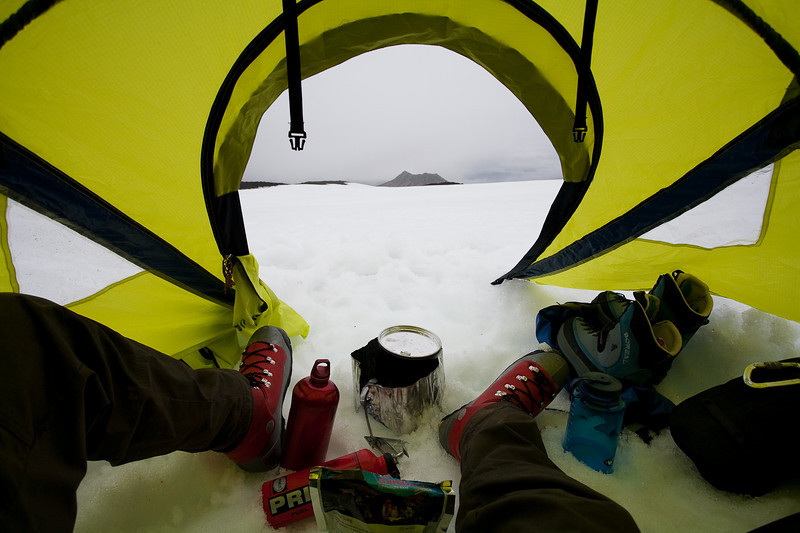 Almost dinner time at High Camp on the Beerenberg, Jan Mayen