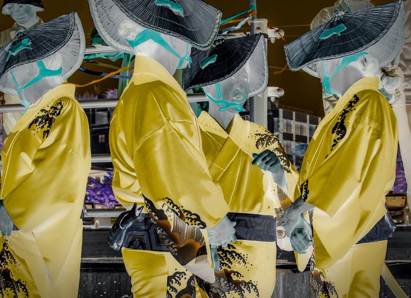 Welcome dancers, Sado Island, Japan. Abstract