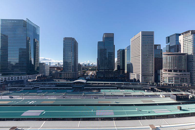 The view from the top of the Daimaru department store in Tokyo - Tokyo Station down below and the Imperial Palace in the middle just beyond the office towers in the foreground.