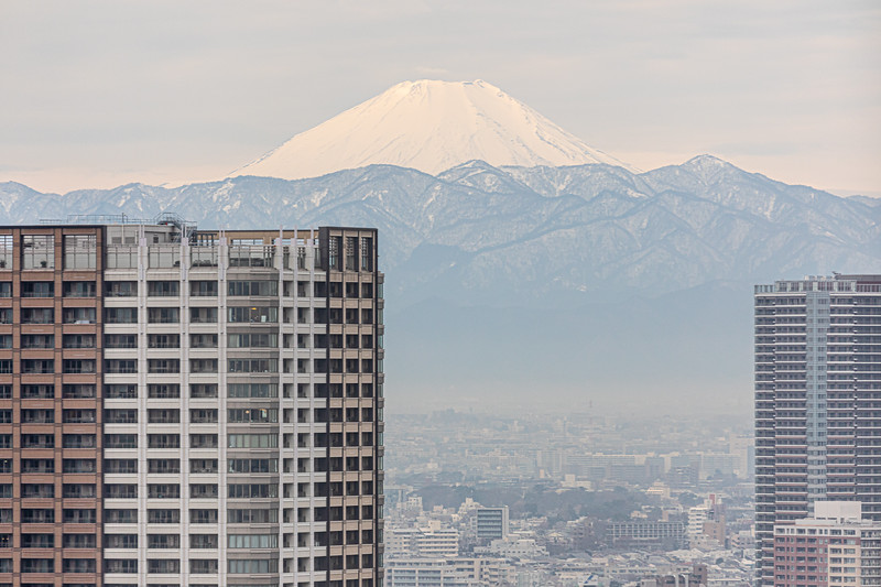 There's a little bit of smog today on the horizon in Tokyo, but Fuji-san is still quite visible, looming over the city to the west.