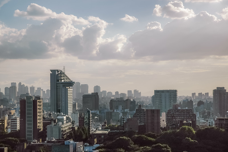 The Bunkyo Civic Center stands tall at left-center with the skyscrapers of the Shinjuku district rising in the distance. The wooded area in the right-foreground is part of the grounds of the University of Tokyo. (Tokyo, JP - 08/04/04, 4:24:49 PM)