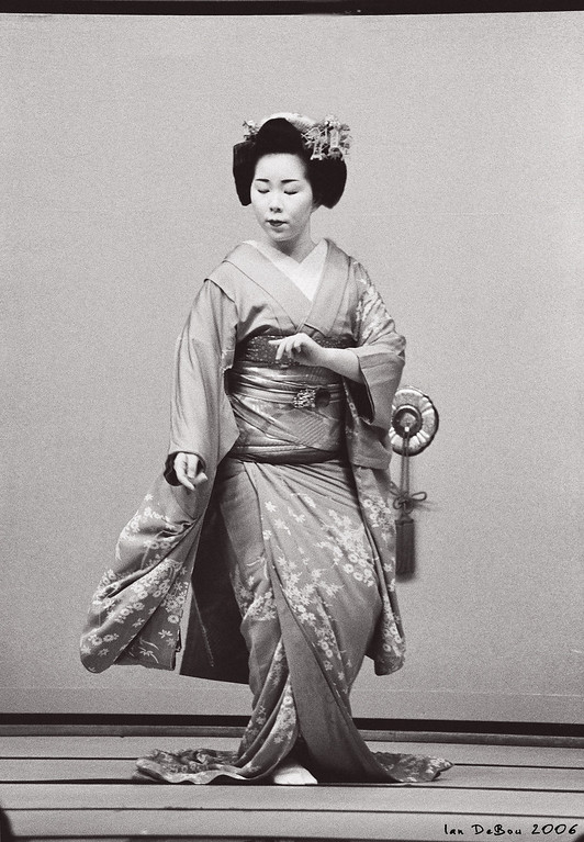 Real Maiko dancing in kyoto, Japan.<br /> Taken with Nikon F100 on Kodak Tmax B&W film<br /> Lens: Nikon 80-200 f2.8