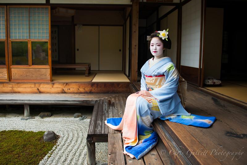 Blue Geisha In Temple