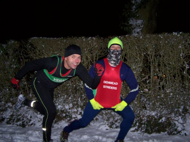 Not even snow stops vegan runners! Dave training with a friend during the harsh 2010 winter.