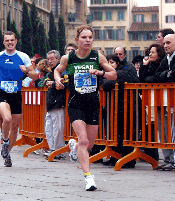 Here Fiona comes in 5th in the Florence marathon.