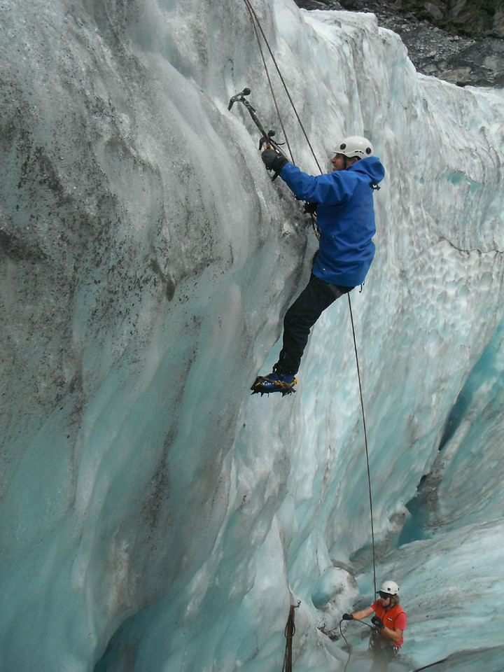 The dry rock proved insufficiently challenging for this hard-core vegan runner, so he headed to New Zealand's Franz Josef glacier to see if he could jog vertically with ice-axes and crampons. As stated, although determination is one of Dave's many fine features, unfortunately wisdom is not his strong point.