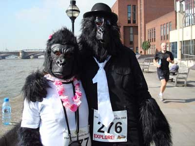 Great Gorilla Run, London 2008 Other vegan runners prefer the added challenge of costumes, like gorillas like Julie Rosenfield and Sarah-Jane here.