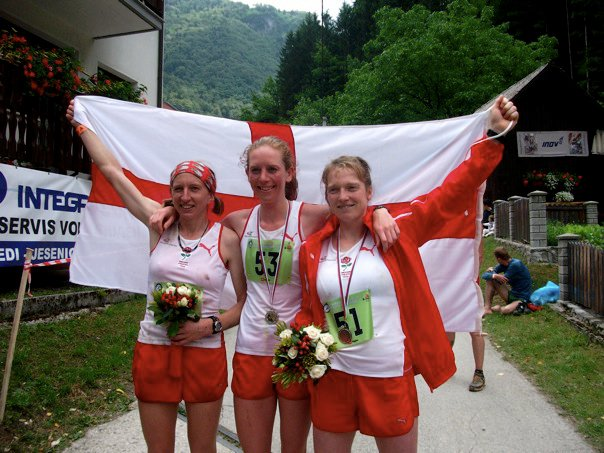 Here the English womens' team wins gold in World Long Distance Mountain Running Championships, Slovenia, in 2011: 25 miles of extreme punishment, including an incredible 9,000 feet of ascent! Helen (left) also received the individual bronze medal.