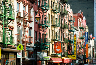 Colorful Buildings on Mott Street New York City