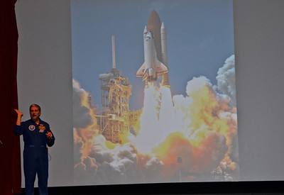 Former Shuttle crew member talking about life on a space mission