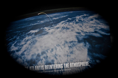 View of Atlantis entering the Atmosphere