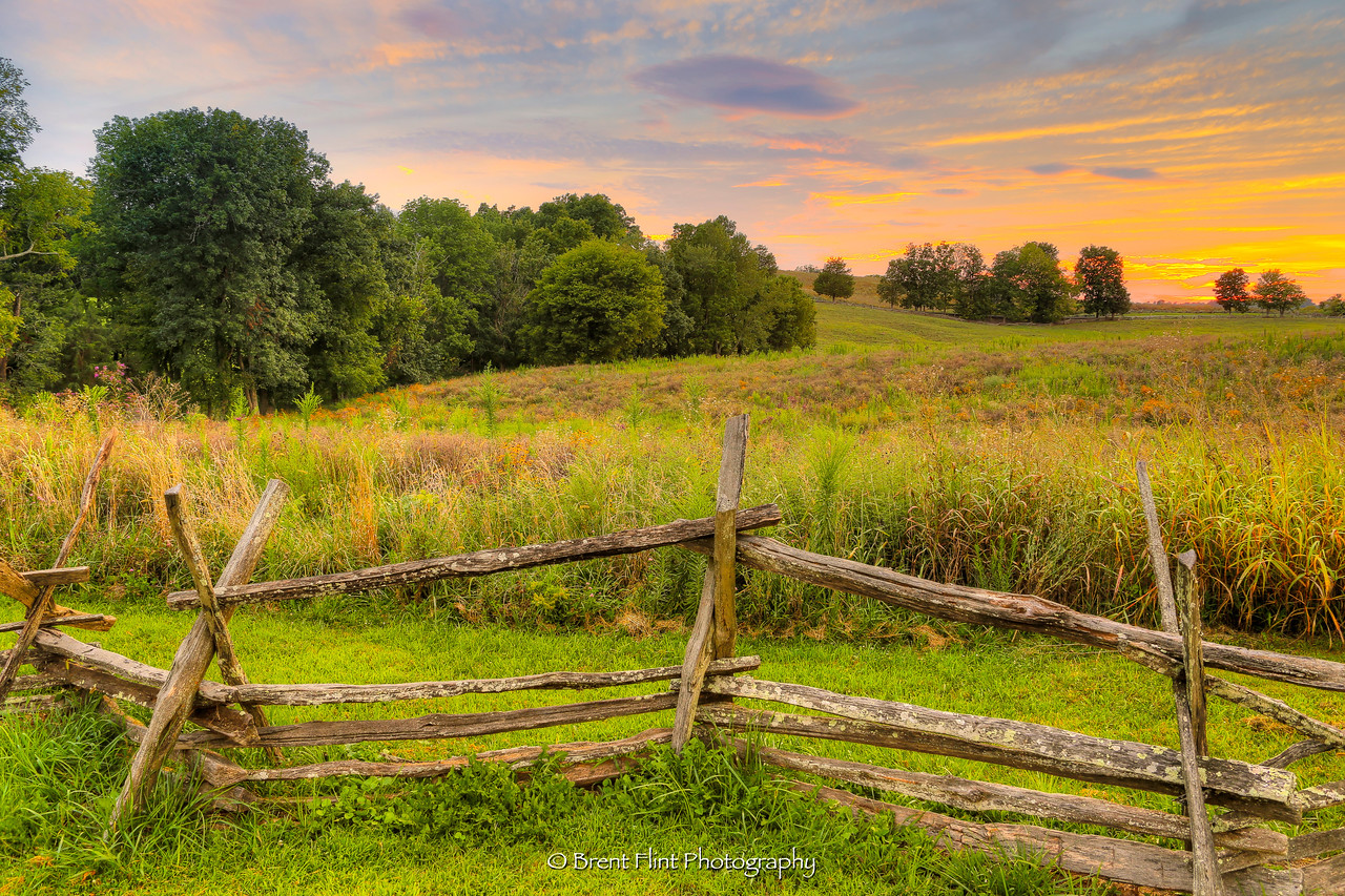 DF.4320 - fence and field at sunset, Perryville Battlefield State Historic Site, KY.