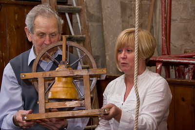 Angie Dunsmith and Jim Dunn demonstrate bell ringing in the tower of St Nicolas' Church