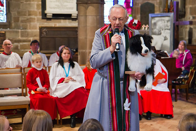 Advent 2 - Parade & Toy Service - Revd Donald Sampson preaches with the aid of Shep