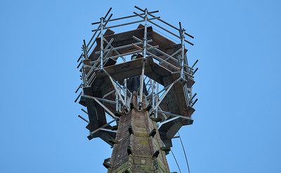 The spire of Saint Nicolas' Church, Kings Norton undergoing repairs on Sunday 8 December 2019.
