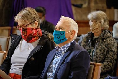The Annual Parochial Church Meeting (APCM) held at Saint Nicolas' Church, Kings Norton on Sunday 11 October 2020.John & Christine Adams with Angela Brady.