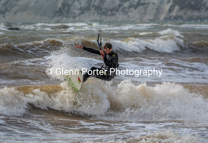 Kitesurfing off the lip at the Isle of Wight, Brook Beach.