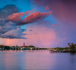 Jupiter Lighthouse under clearing storm and rainbow!