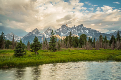 Morning Sun on Teton Peaks