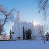 An unprecedented amount of snow (for St. George, at least) blankets the temple grounds.