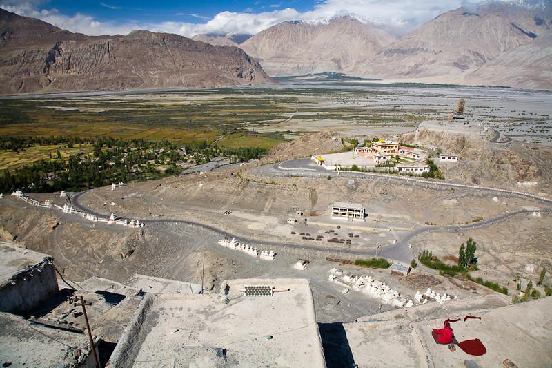 A monk meditates high above the Nubra Valley, Diskit, Ladakh