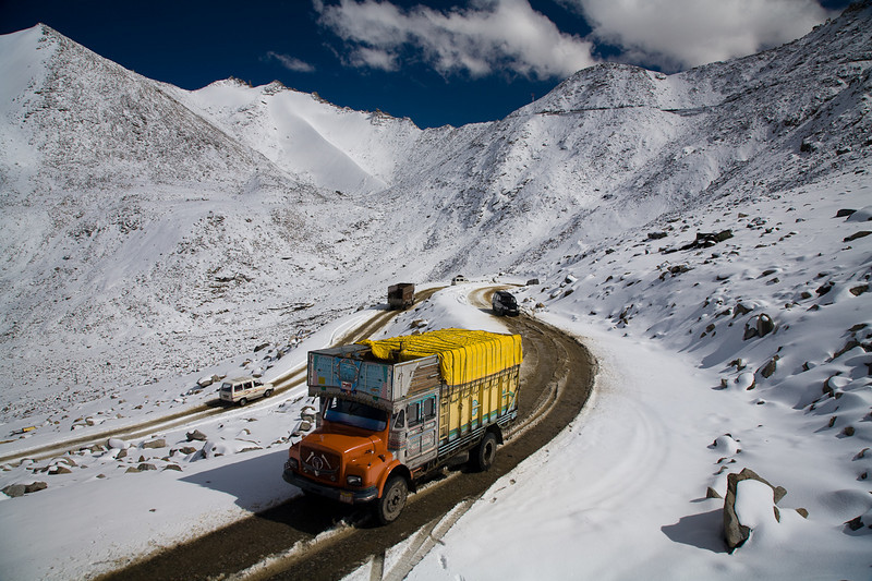 Ascending the 5600 meter (18,340 ft.) Khardung La Pass, perhaps the highest motorable pass in the world,  from the Nubra Valley, Ladakh