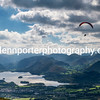 Flying high above Keswick and Derwentwater from Dkiddaw. Lake District.