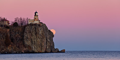 Cliffside Moonrise - Split Rock Lighthouse
