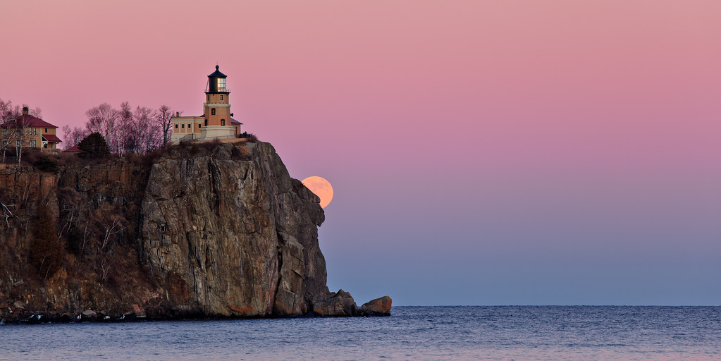 Cliffside Moonrise - Split Rock Lighthouse
